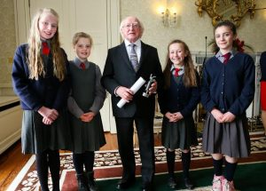 Irish President Receives Pupils From Timahoe National School